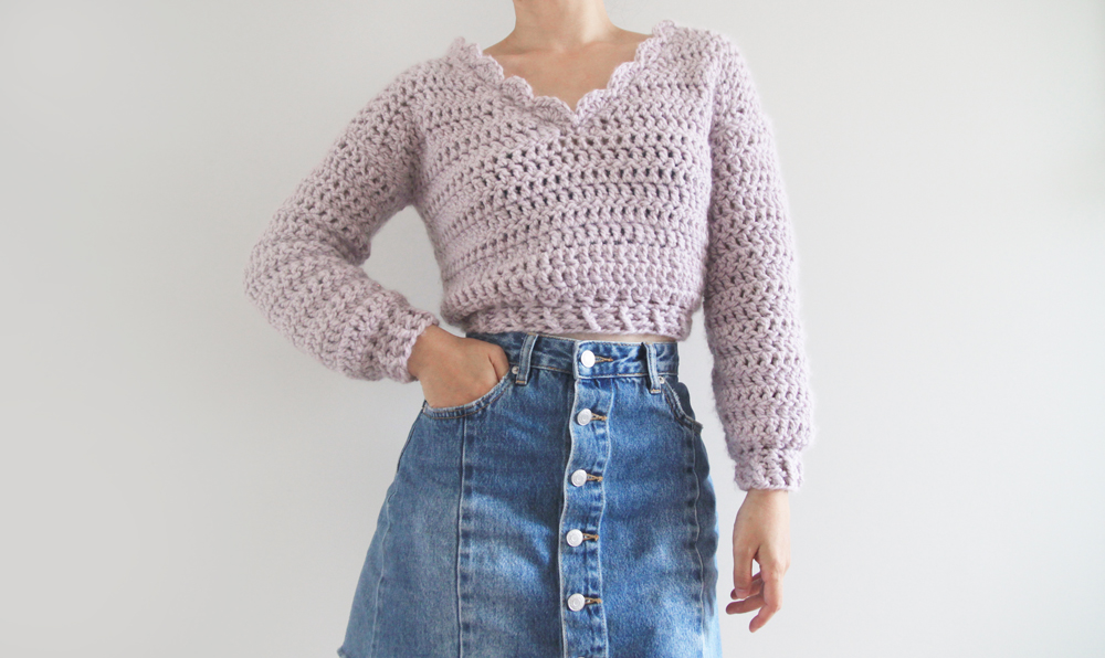 Chunky Cropped Crochet Sweater Pattern Video Tutorial For The Frills