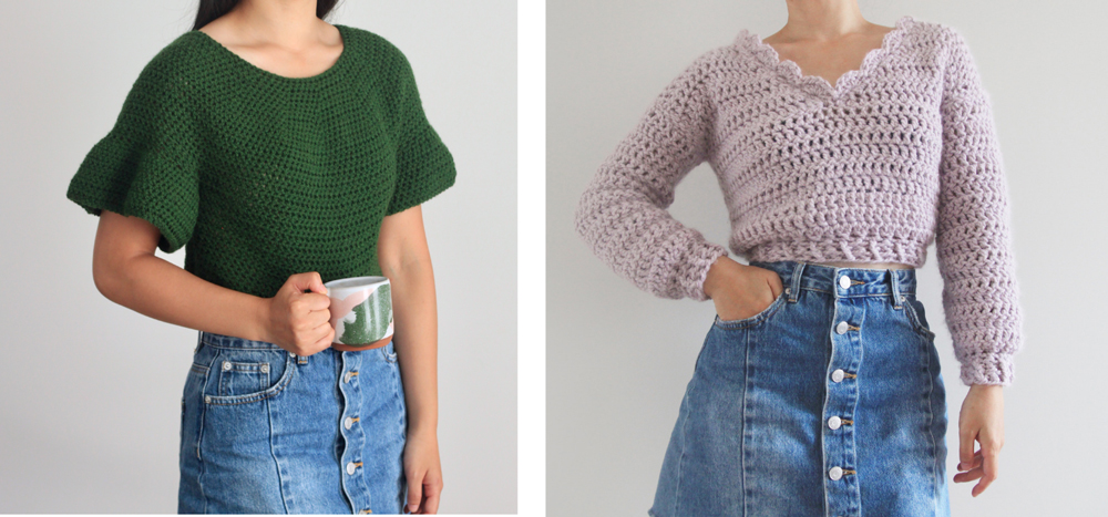 crochet ruffle sleeve top chunky crochet pattern sweater