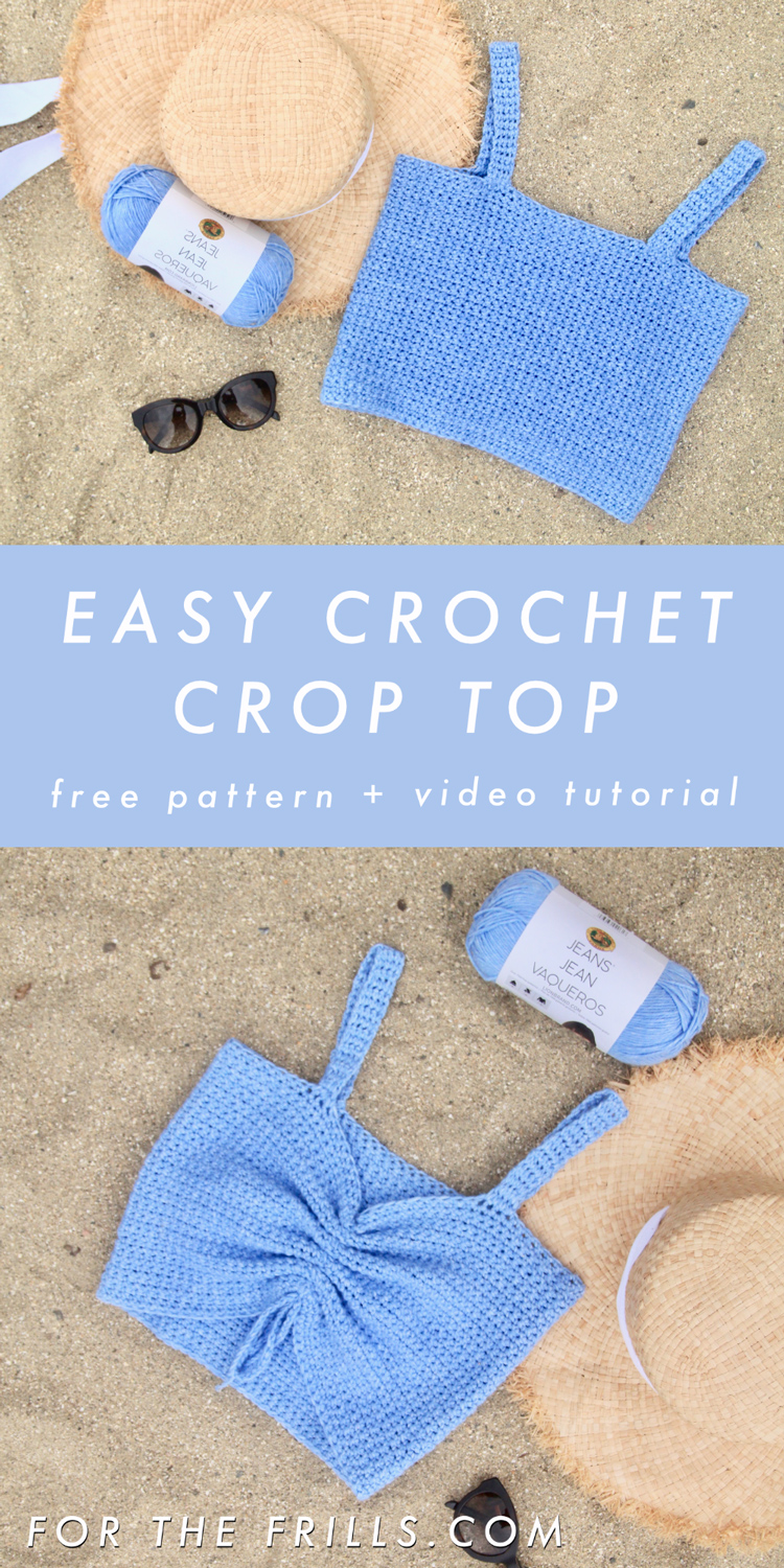 pin image of easy crochet crop top pattern with 3 different necklines