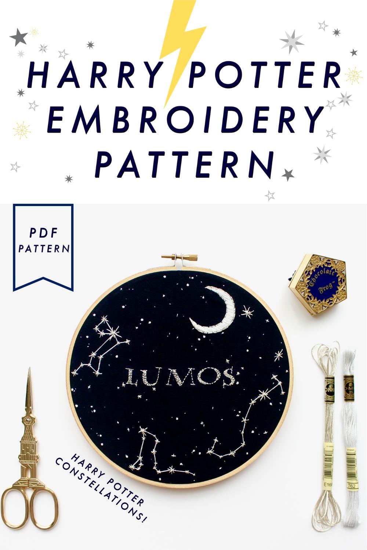 harry potter embroidery, lumos, hand embroidery, hogwarts, metallic thread