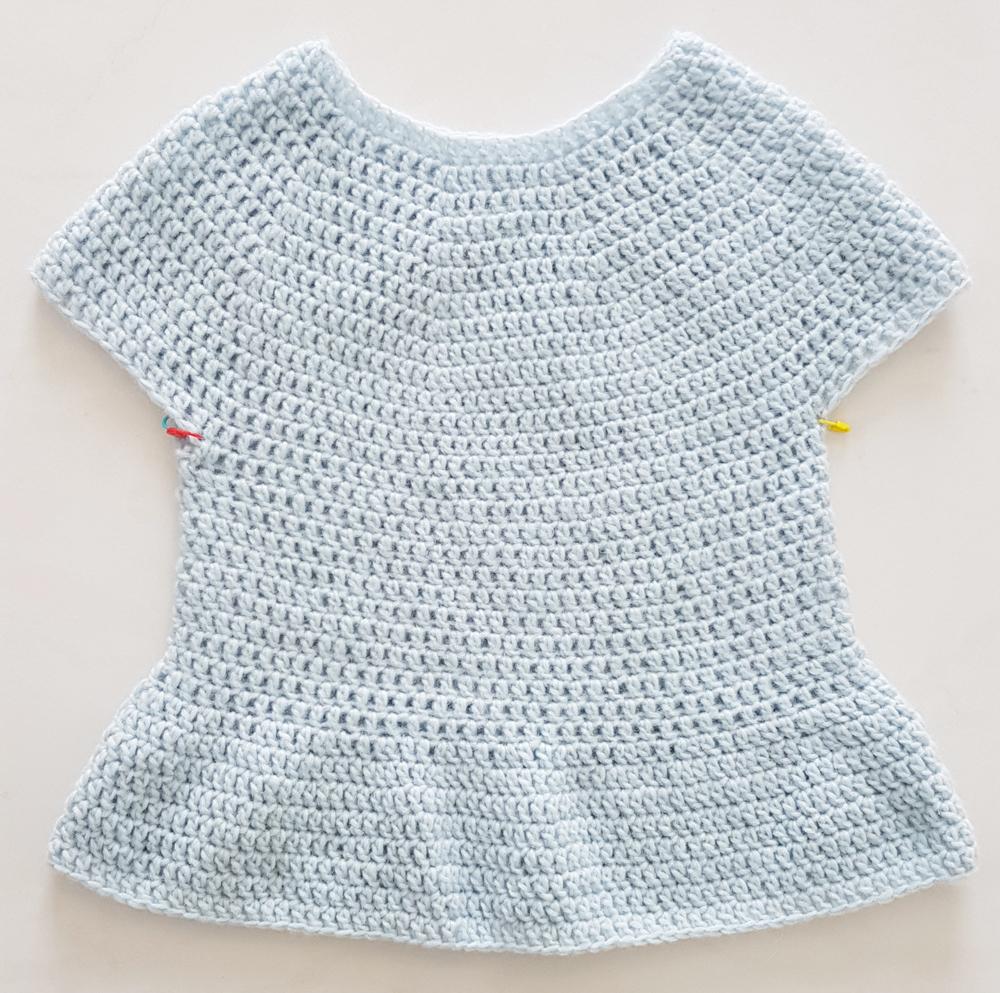 finished body of peplum crochet sweater