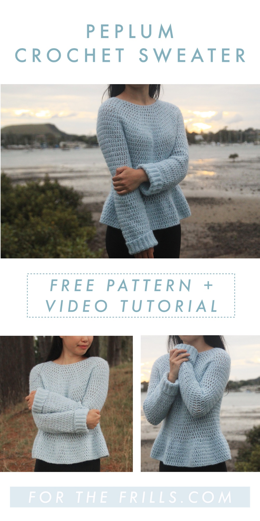 free crochet pattern sweater for the frills peplum sweater