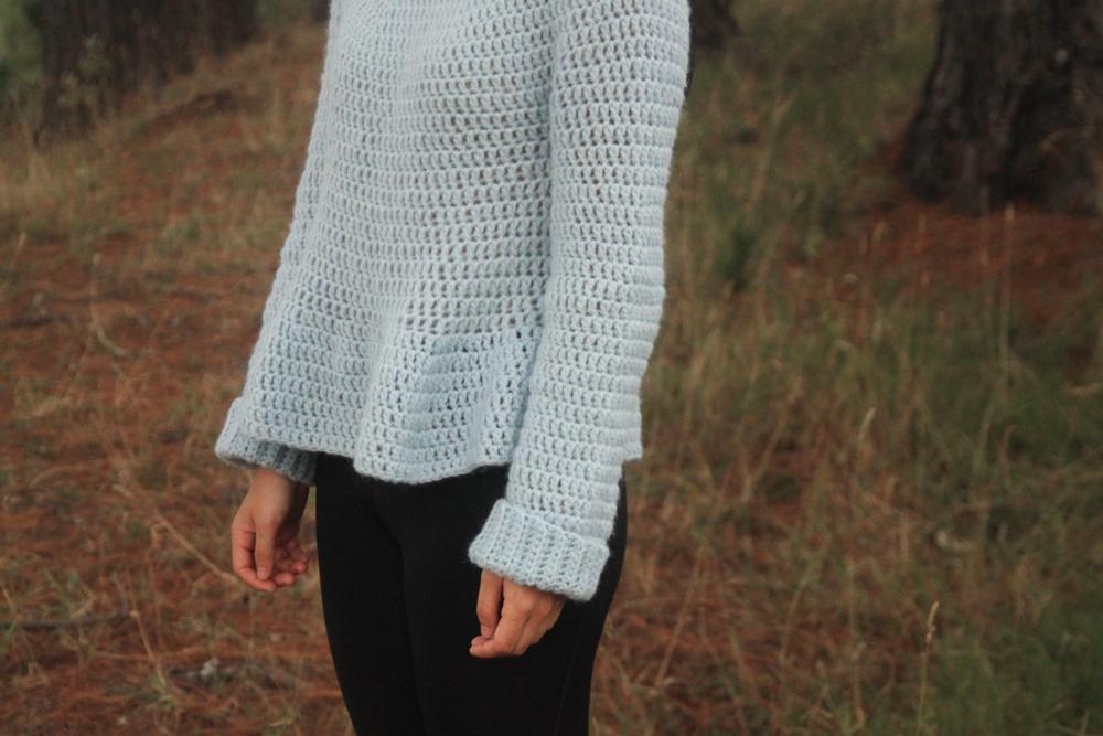 crochet peplum sweater and ribbed cuffs