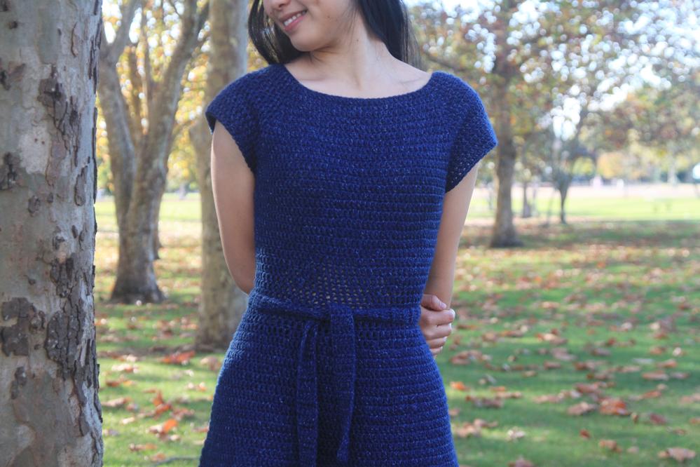 navy blue crochet dress