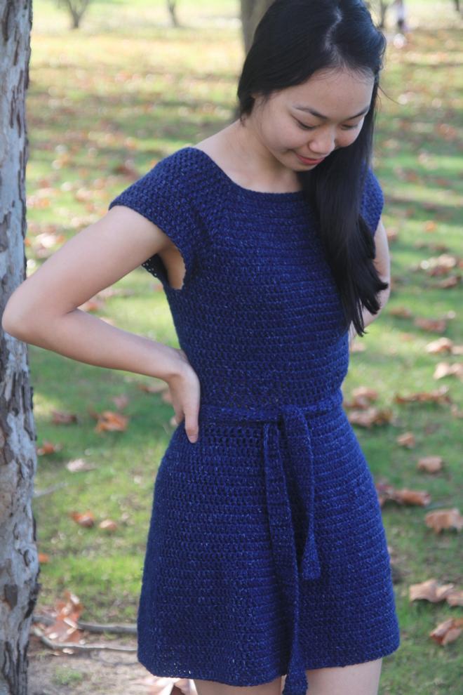 side view of double crochet dress in lion brand jeans acrylic yarn