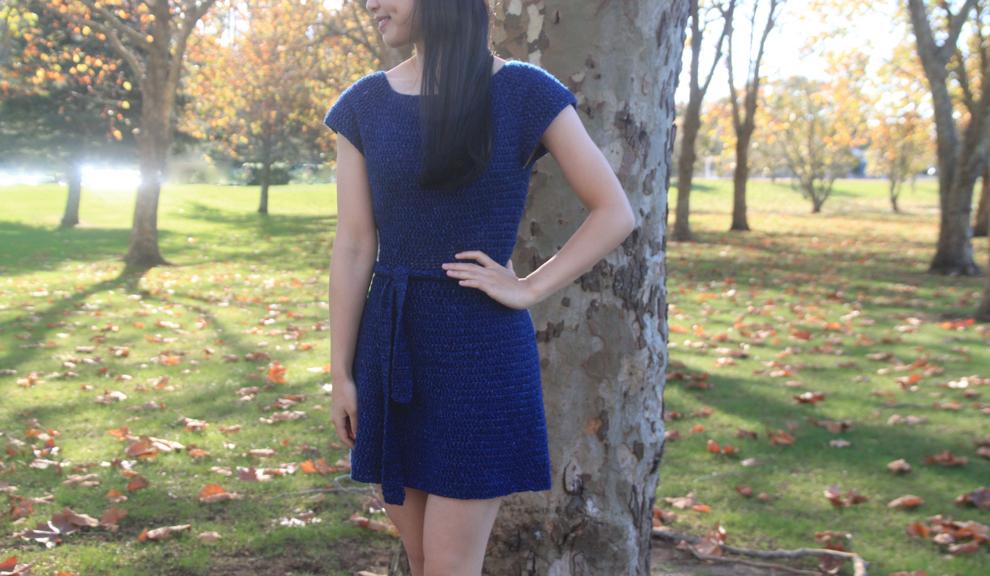 cap sleeve crochet dress with waist belt