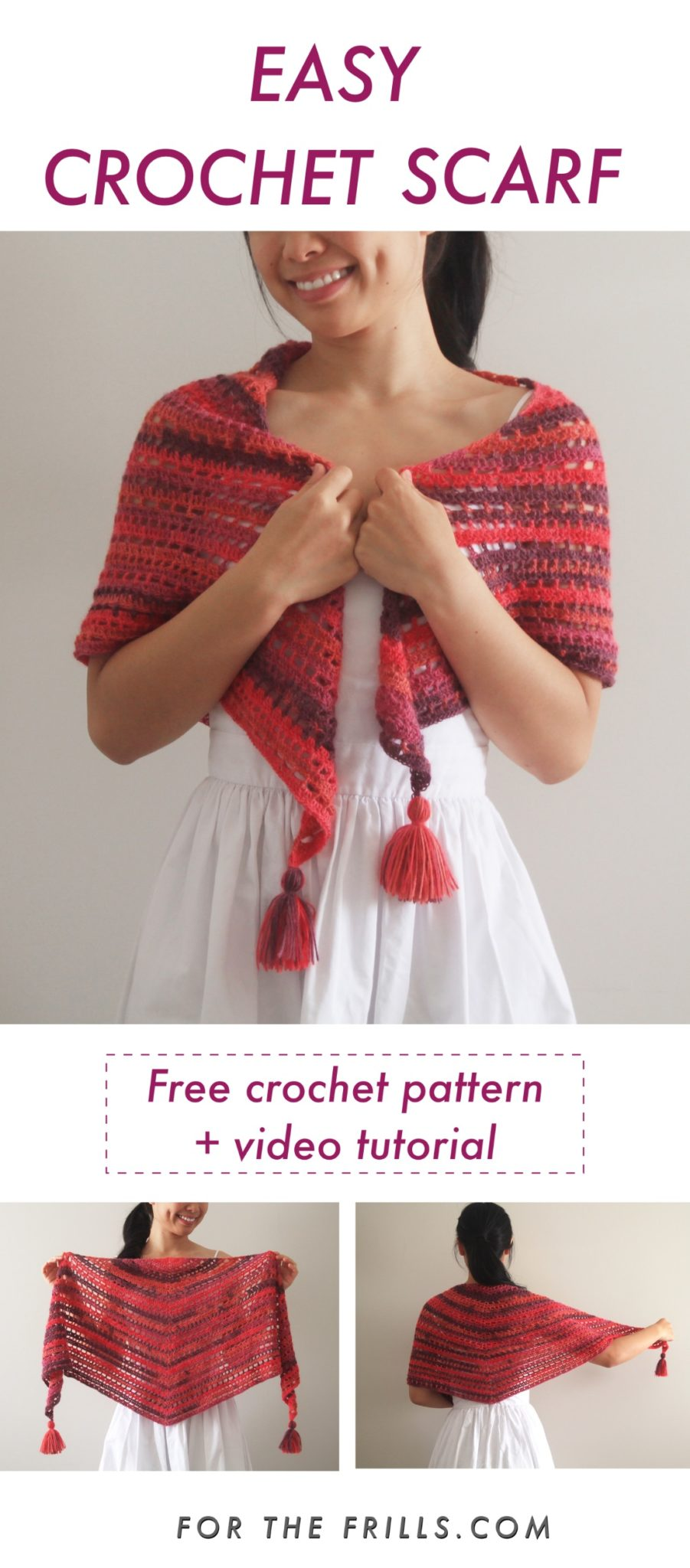 pin image of easy triangle crochet wrap with tassels