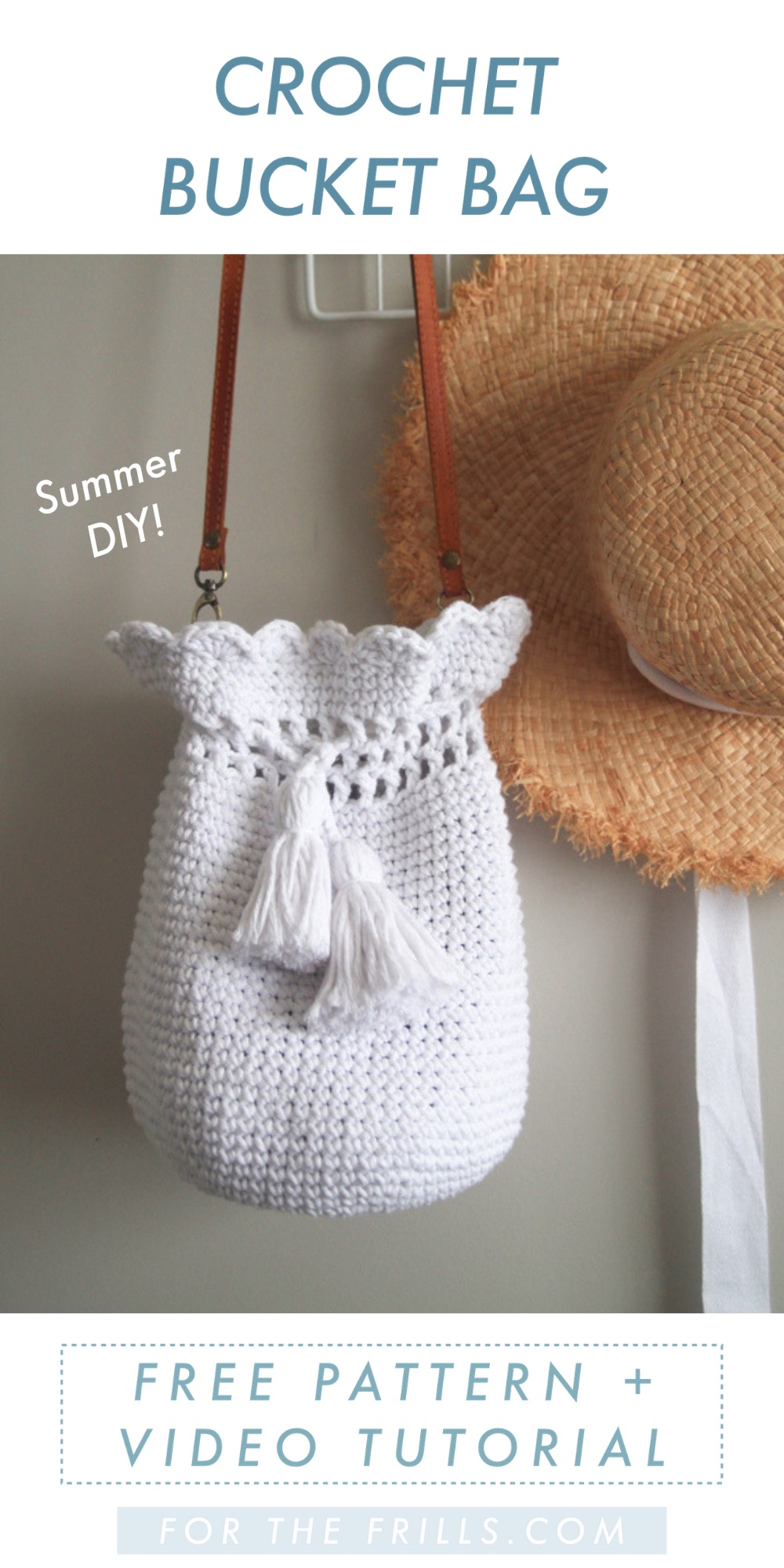 crochet bucket bag free pattern pin image