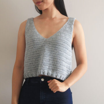 cotton crochet crop top singlet free pattern