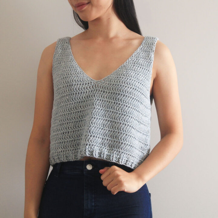 cotton crochet crop top singlet free pattern