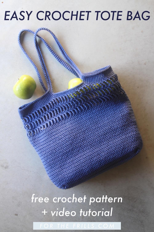 pin image of modern crochet tote bag pattern