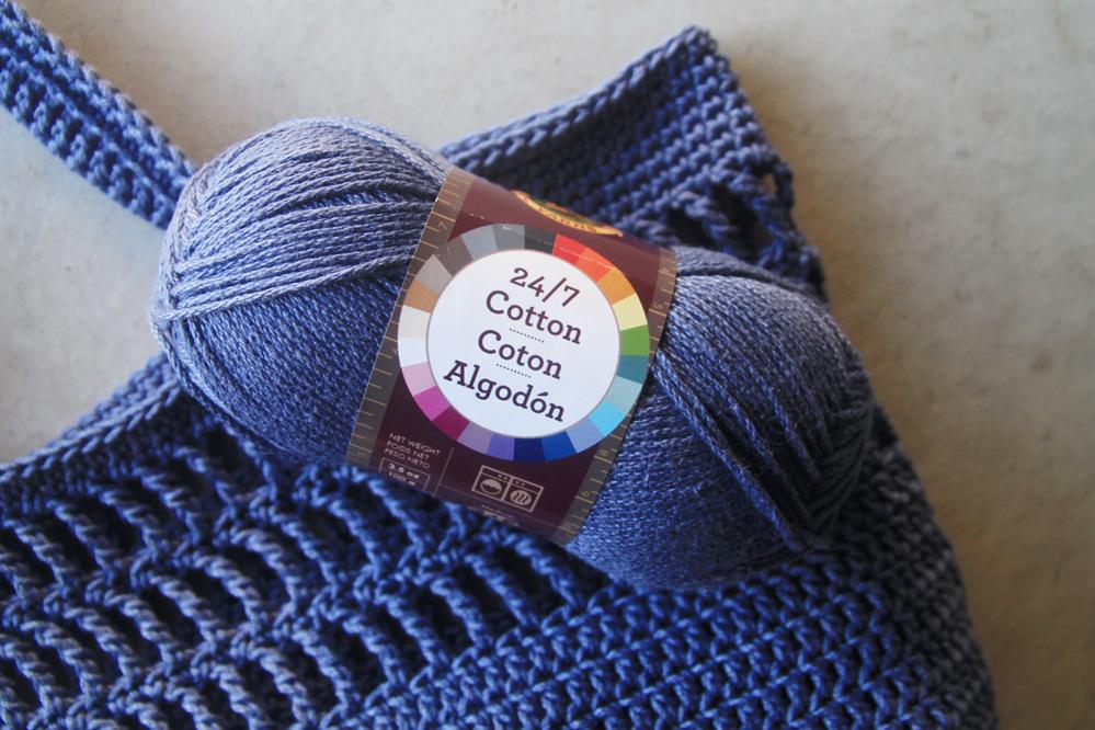 lion brand 24/7 mercerized cotton yarn in the shade denim