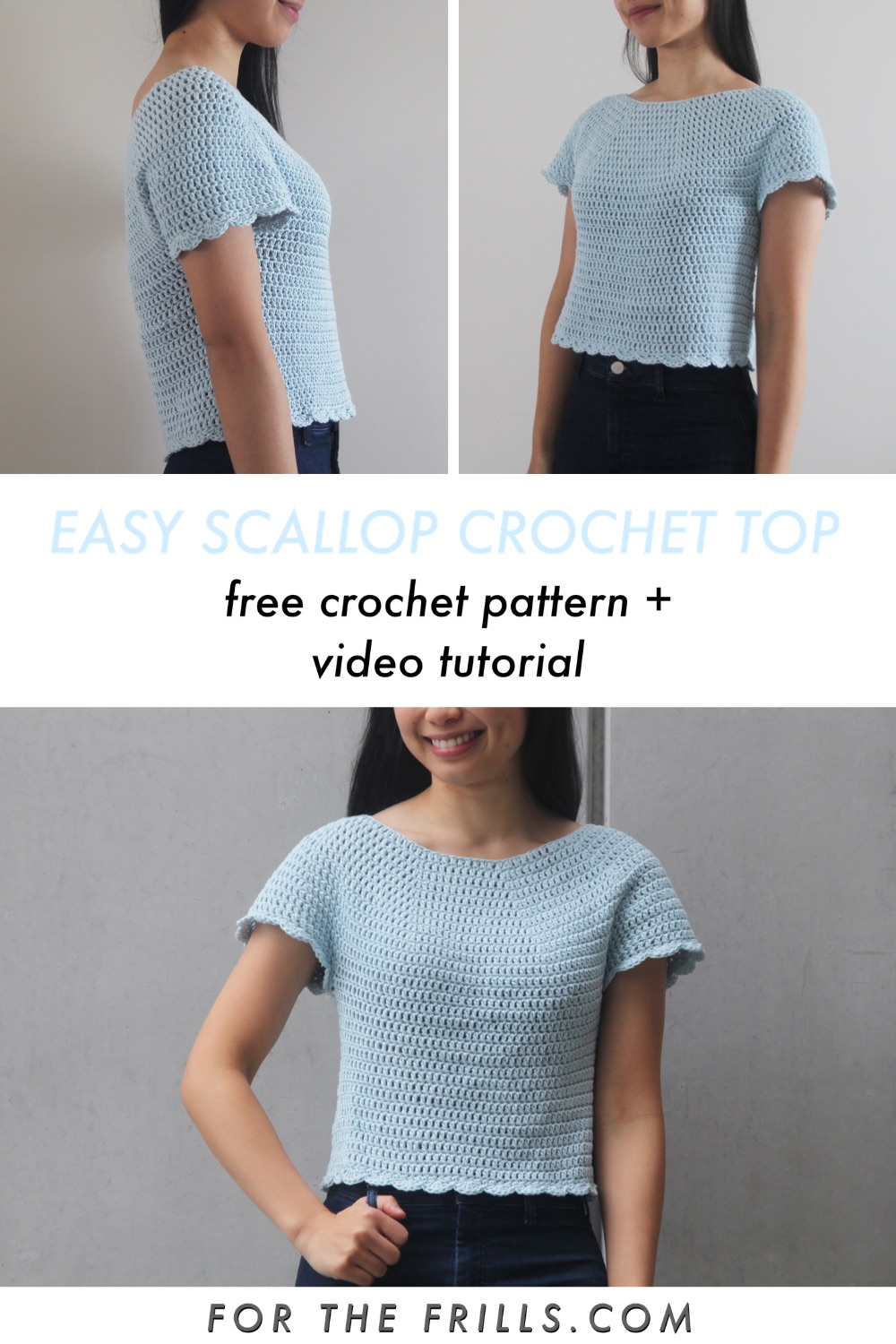pin image of scallop crochet top pattern