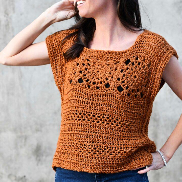 boho summer crochet top tee mamainastitch