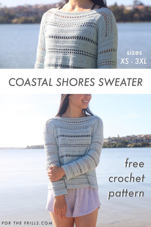pin image of mesh summer crochet pullover
