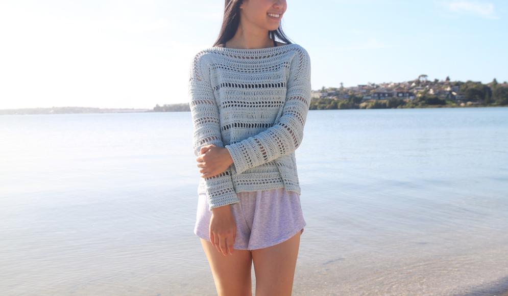 coastal shores summer sweater free crochet pattern tutorial
