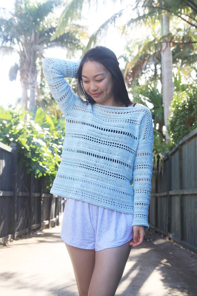 thin cotton yarn summer crochet pullover