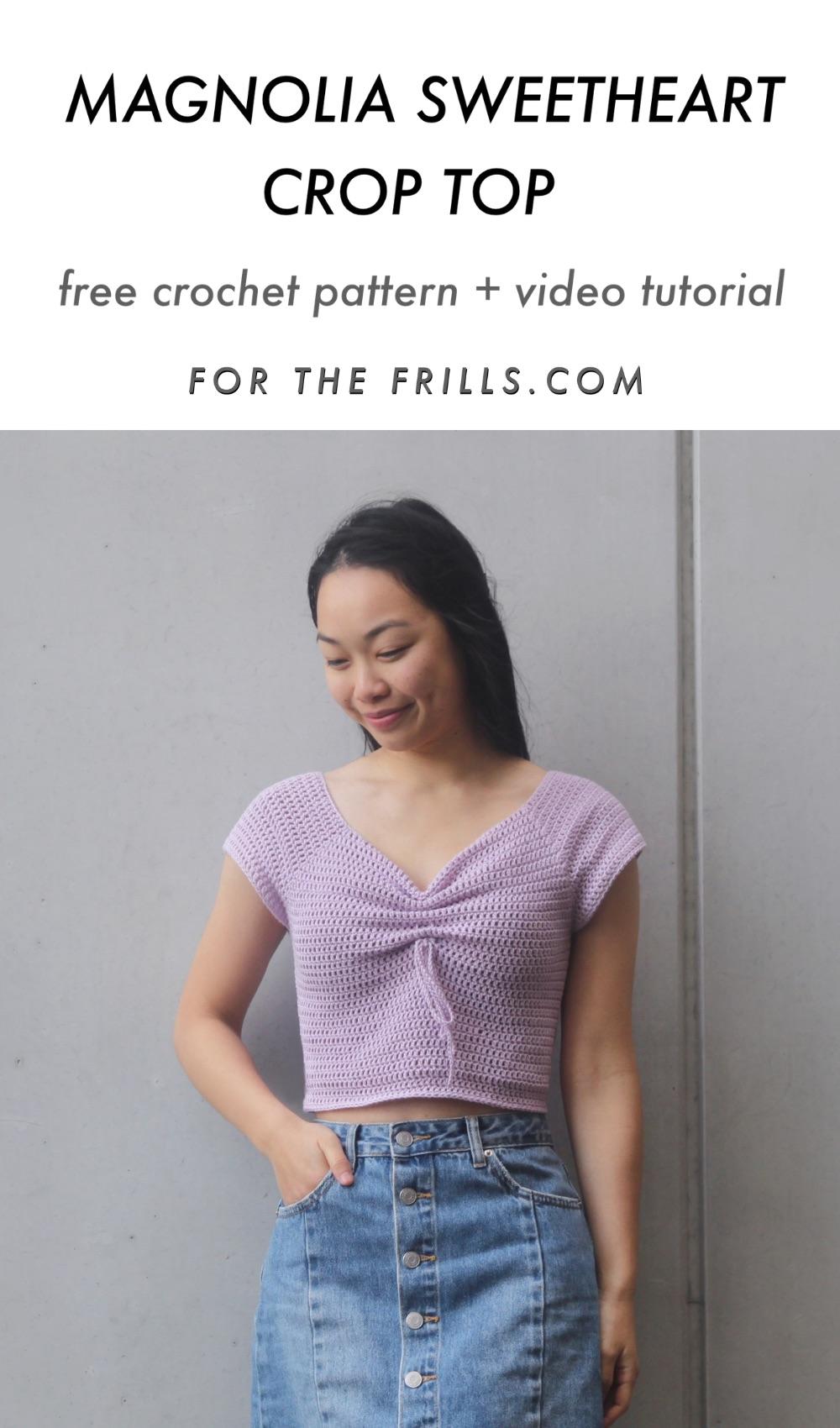 pin image of sweetheart crop top crochet pattern