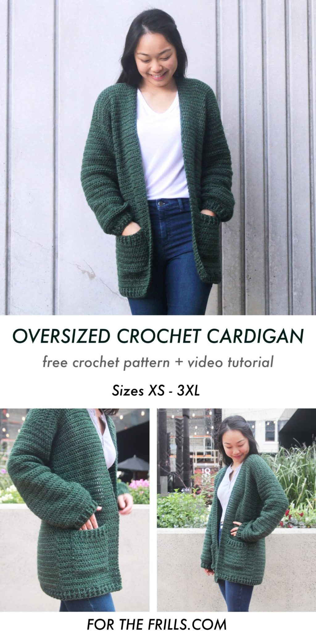 oversized chunky pocket crochet cardigan pin free pattern.