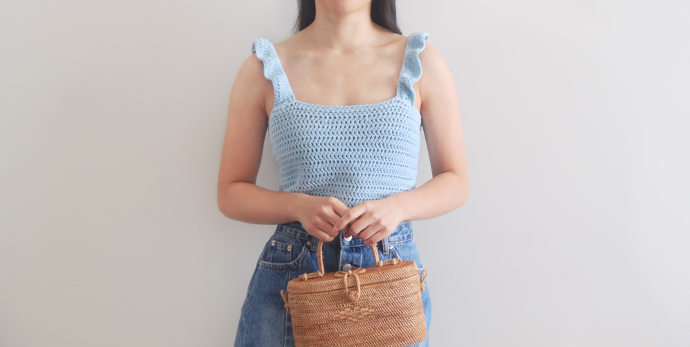 ruffle strap tank top free easy crochet pattern video tutorial blue summer for the frills pin