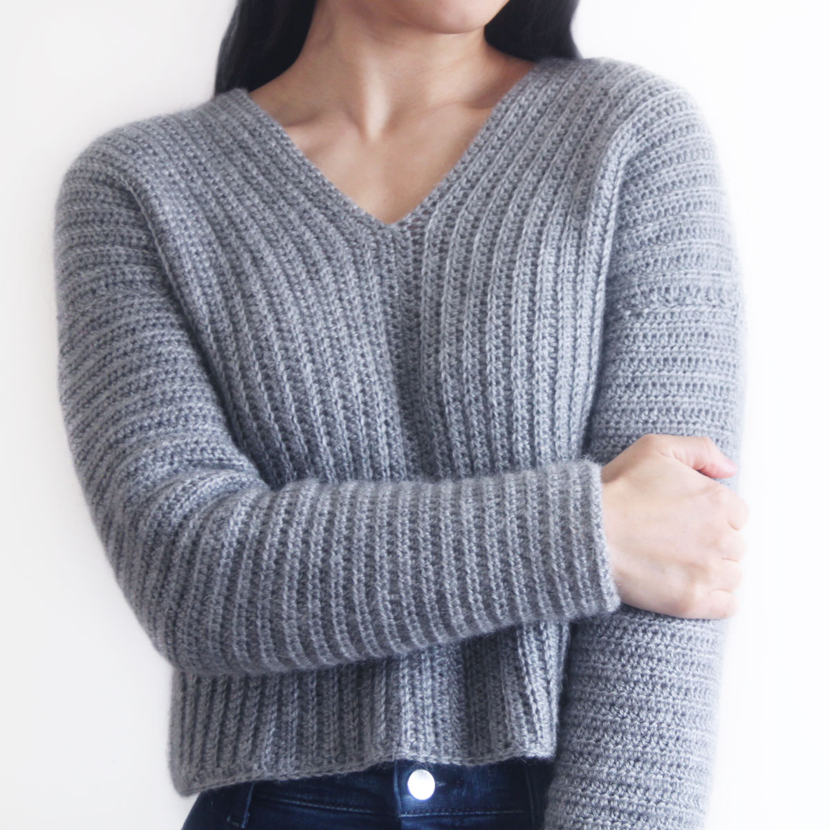 Ribbed V Neck Crochet Sweater Free Pattern Video For The Frills