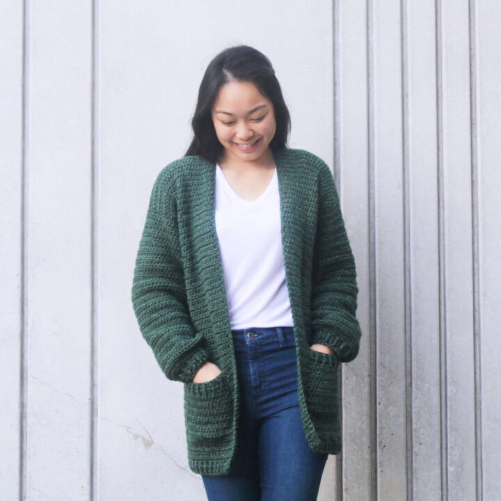 crochet pattern oversized pocket cardigan green easy tutorial