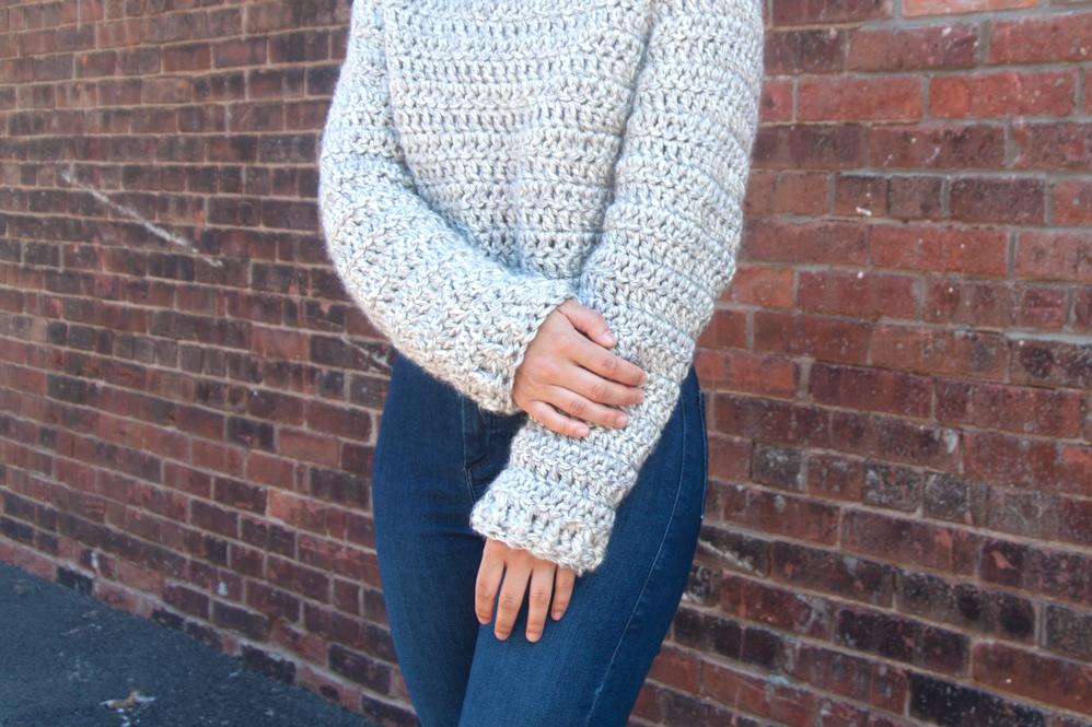ribbed cuffs chunky crochet sweater free pattern lion brand yarn katmai