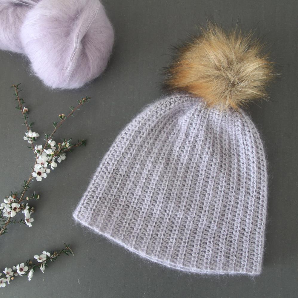 mohair beanie pom pom lilac free crochet pattern