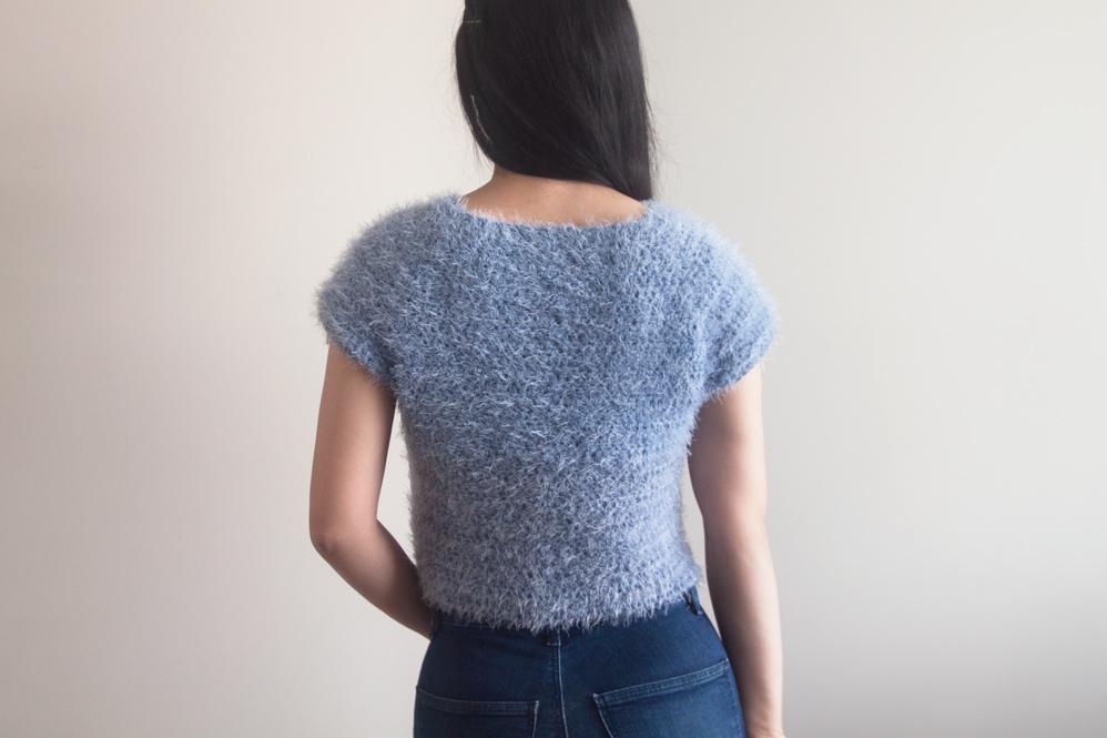 back view of fluffy crochet top caron latte yarns yarn