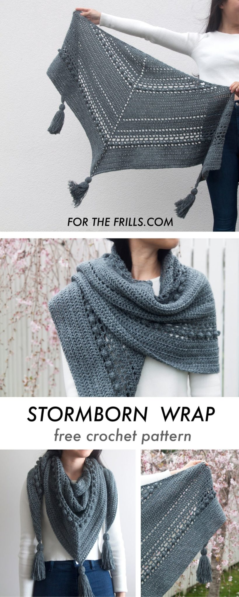 free crochet wrap pattern with bobbles and chunky tassels grey lion brand yarn