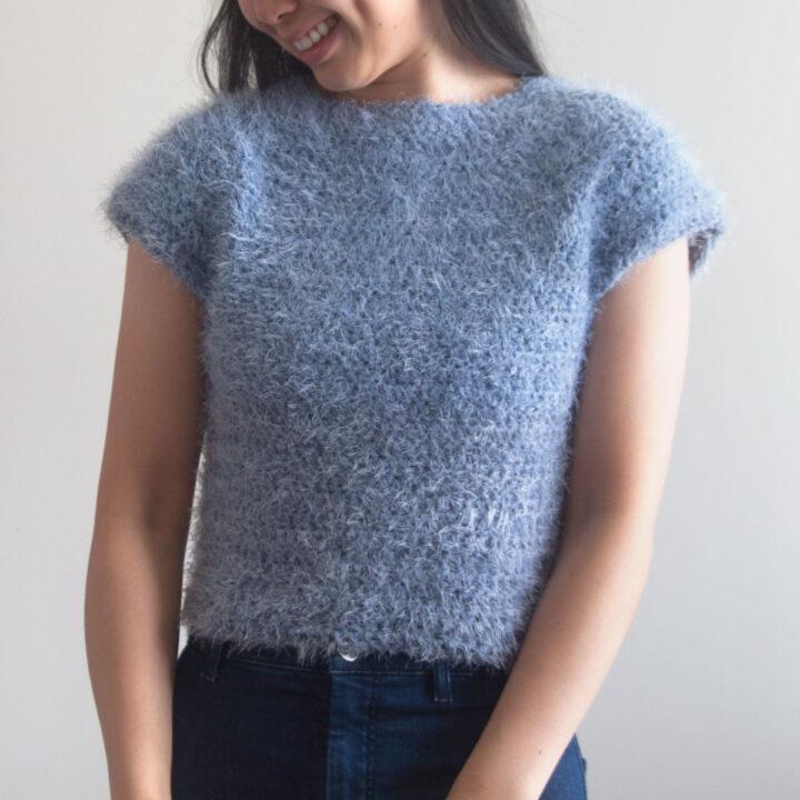 crochet blue fluffy crop top
