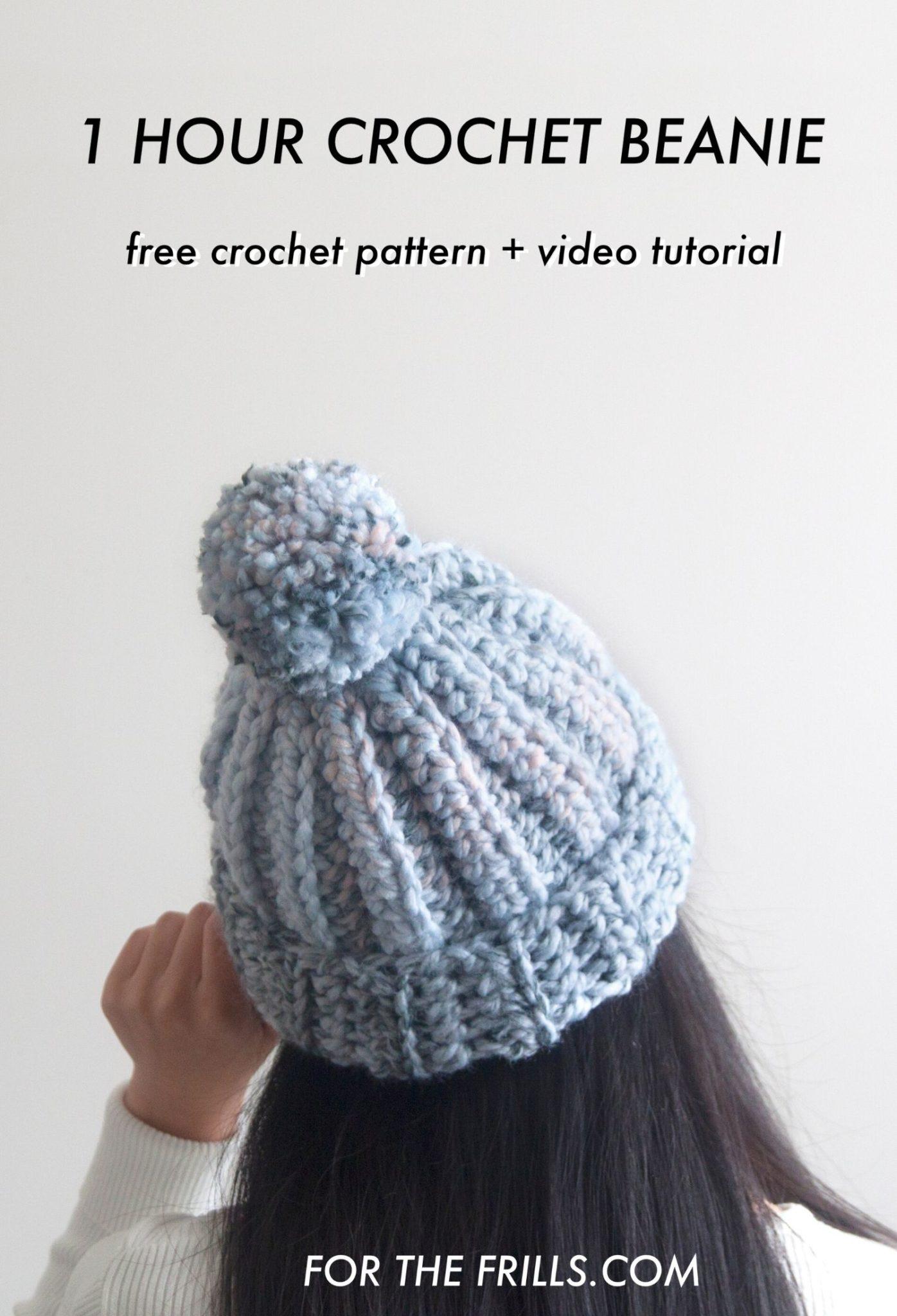 one hour crochet beanie pom pom super chunky yarn