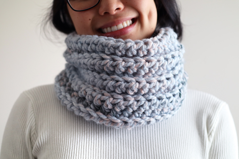 quick chunky crochet snood beginners free pattern