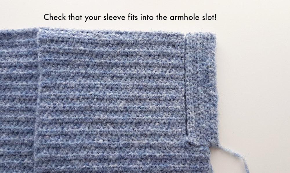 crochet cardigan sleeve slot into armhole