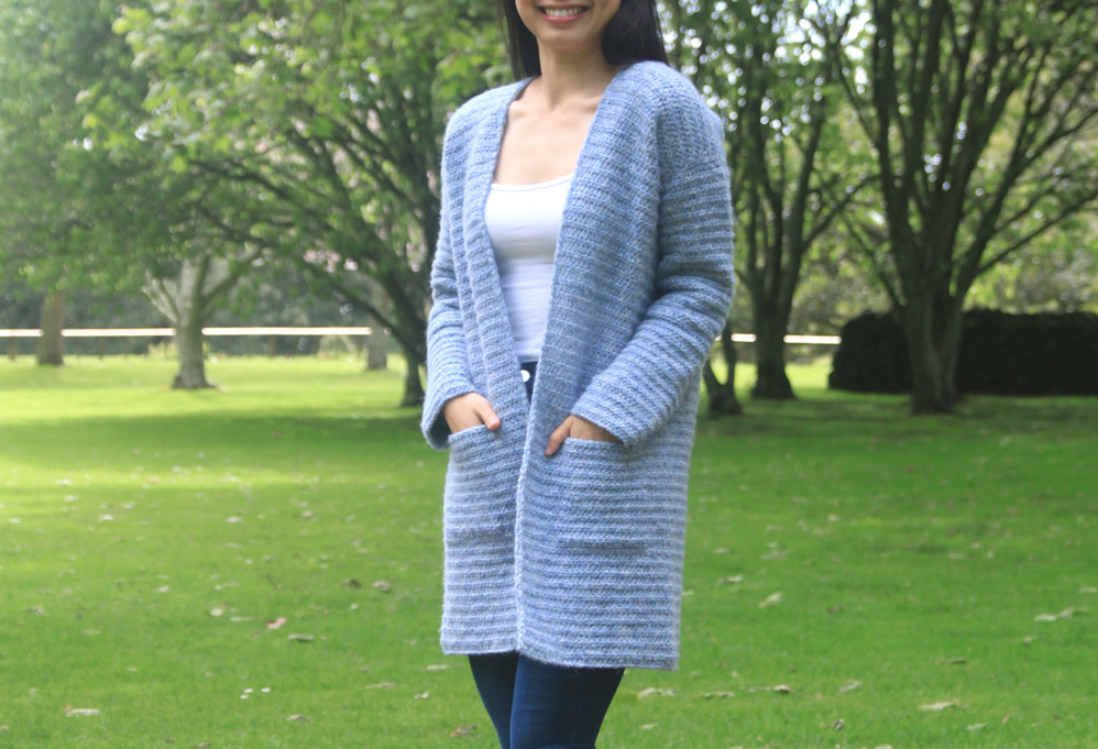 blue crochet cardigan with pockets free pattern