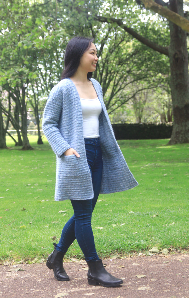 crochet cardigan coat with pockets side view