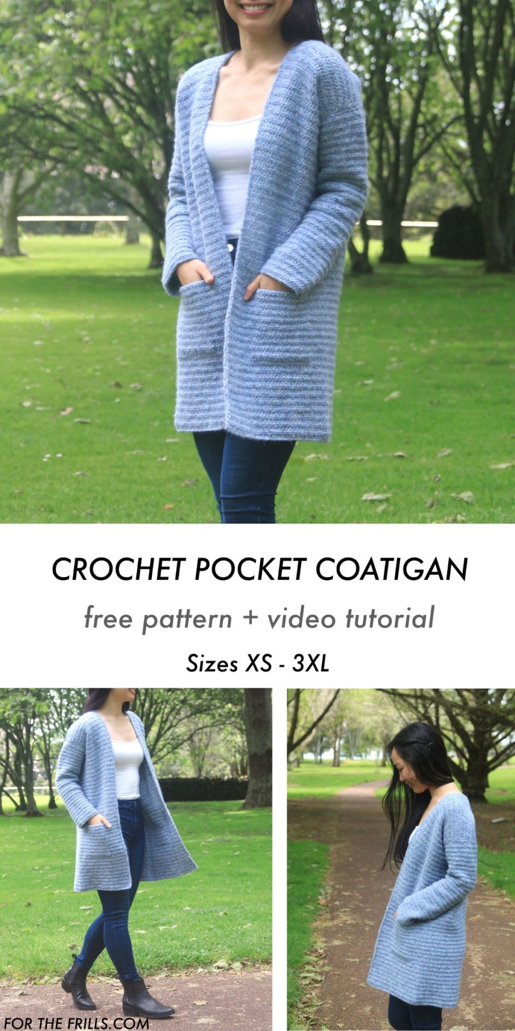 crochet pocket cardigan free pattern and video tutorial pin