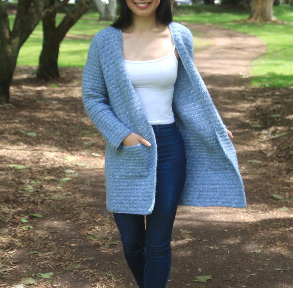 minimalist crochet cardigan with pockets