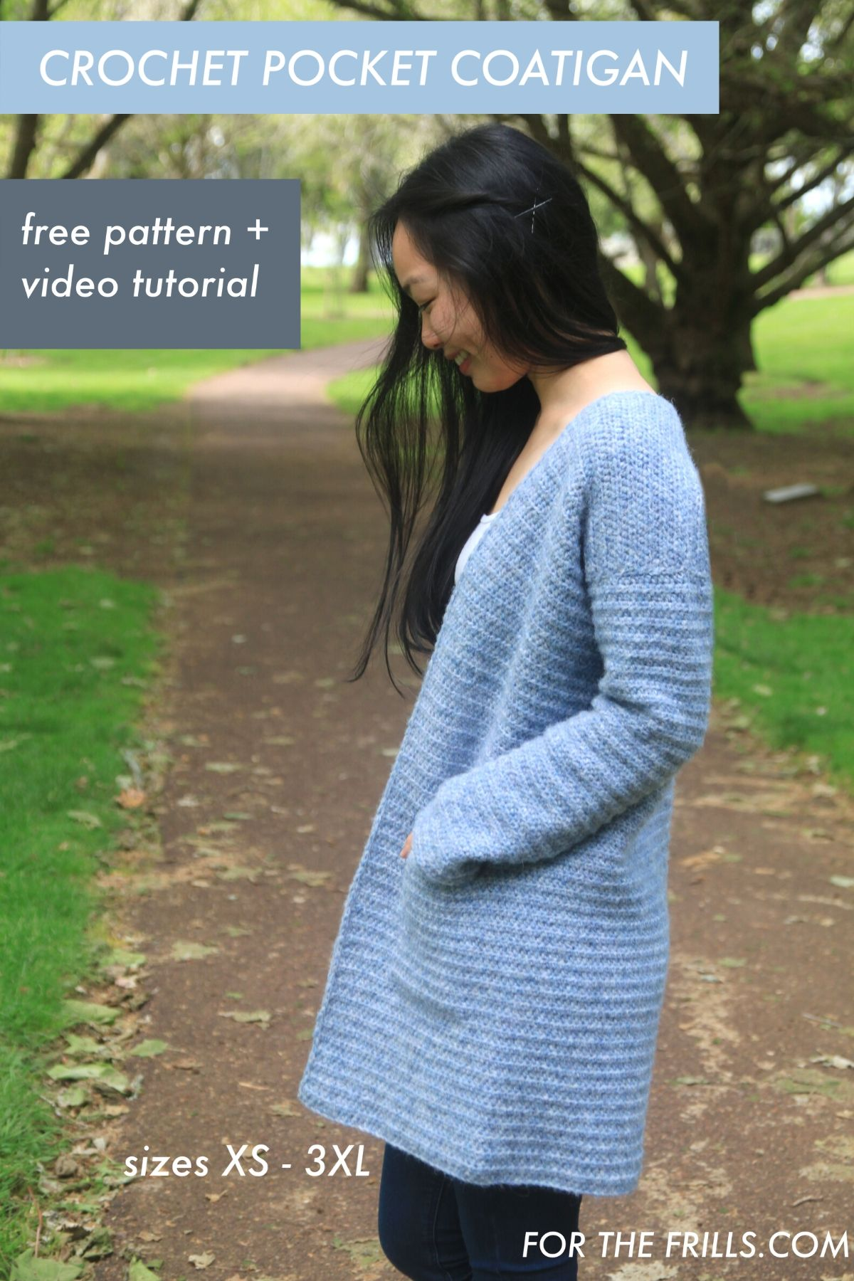 crochet coat with pockets tutorial and free pattern