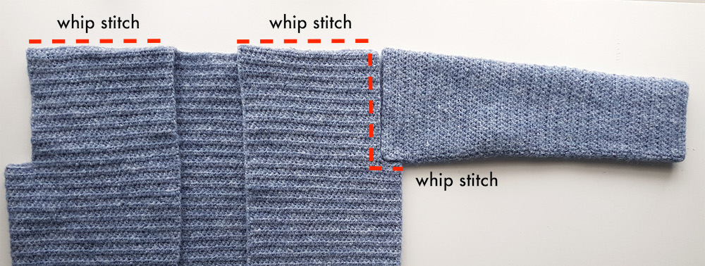 whip stitch shoulder seams and sleeves to crochet cardigan tutorial