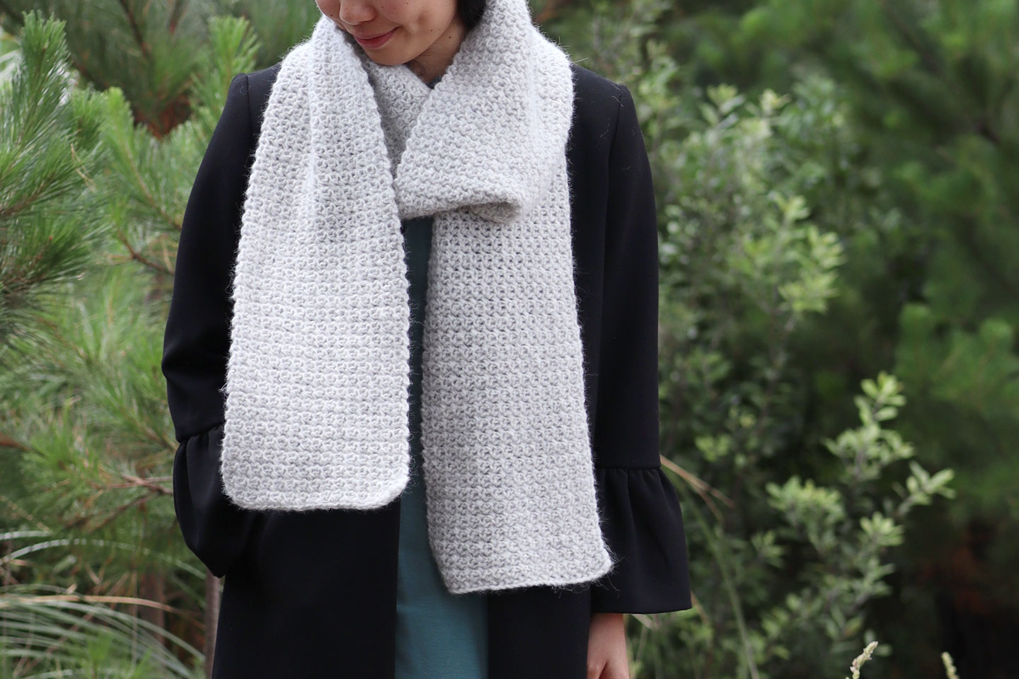 fluffy simple crochet scarf wrapped around neck