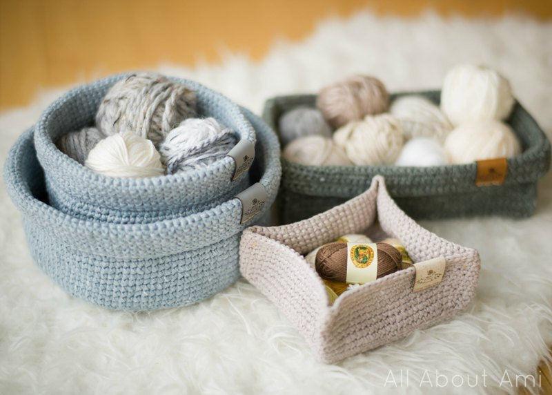 crochet trays homeware circle square rectangle