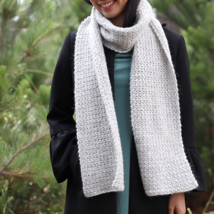 light grey crochet scarf soft fluffy yarn