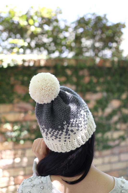 fair isle beanie pom pom white grey yarn hat