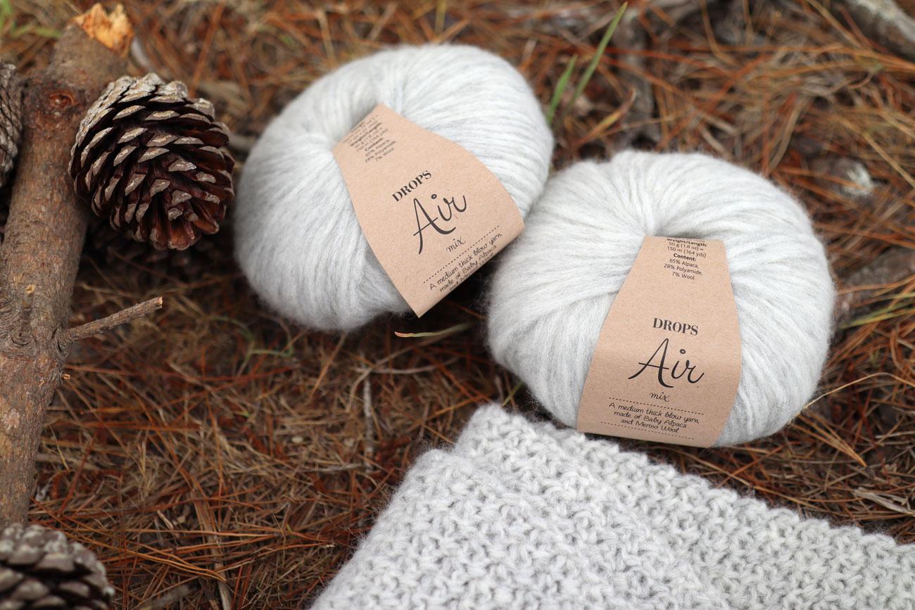 drops air yarn alpaca wool fluffy pearl grey crochet scarf