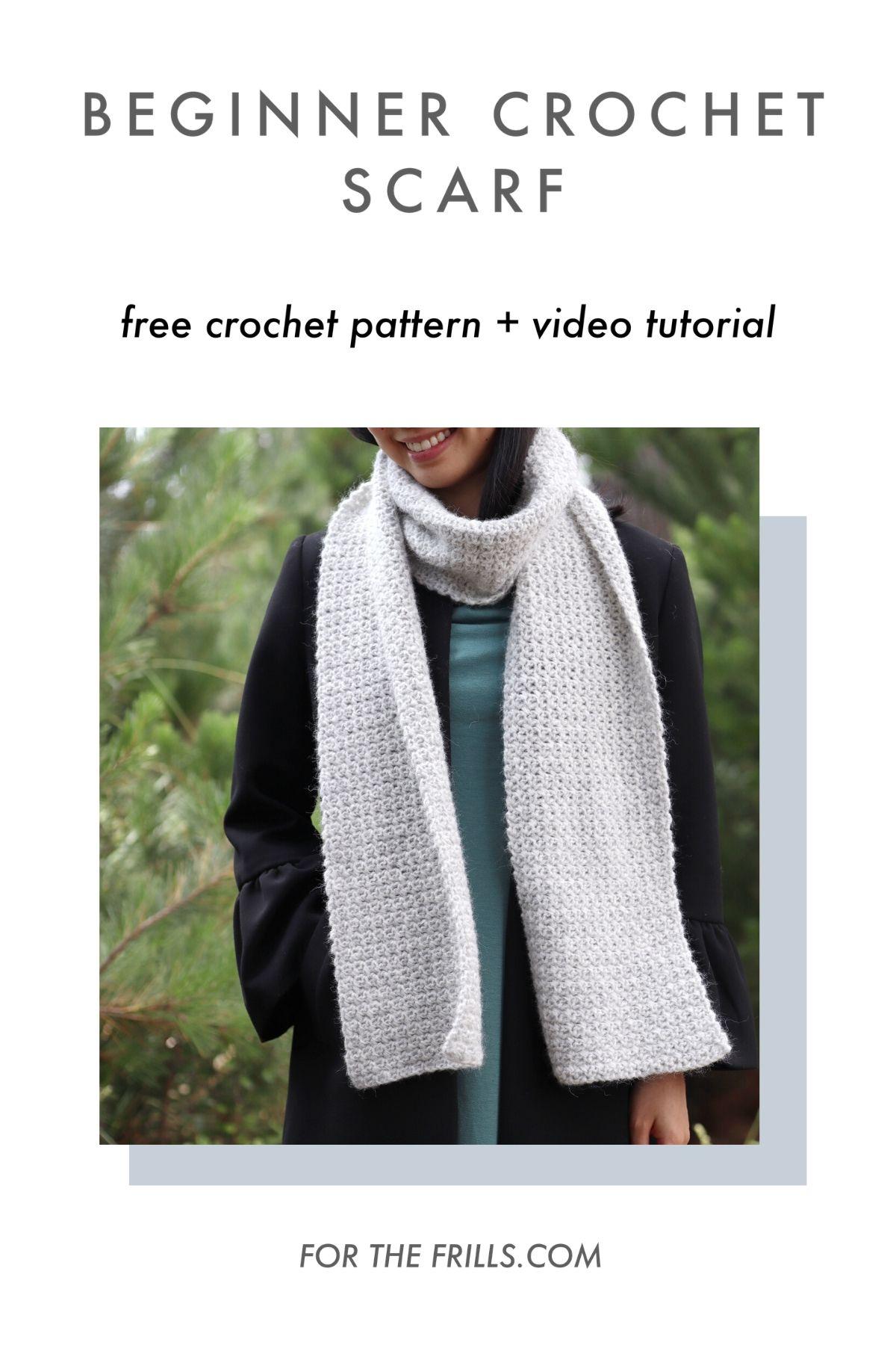easy beginner crochet scarf pattern free tutorial pin