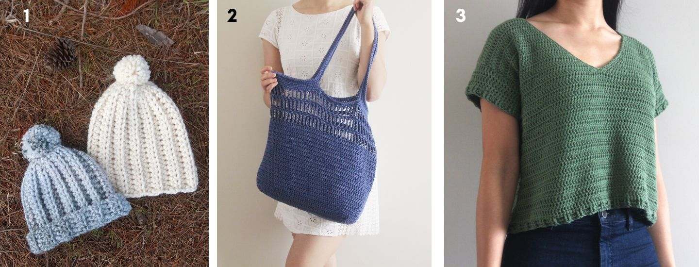 one hour crochet beanie pom pom market tote bag easy cotton top free patterns