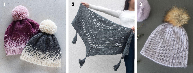 free crochet patterns featuring fair isle beanie, bobble tassel wrap and mohair beanie