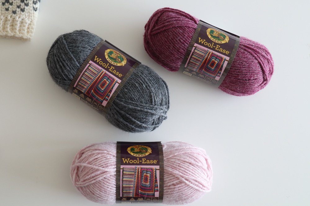 wool ease yarn rose heather oxford gray lion brand