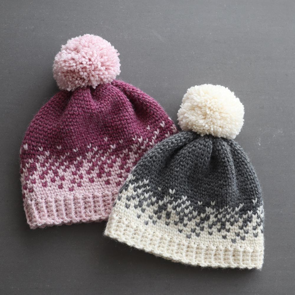 crochet fair isle beanie pom pom grey white snow pink heart